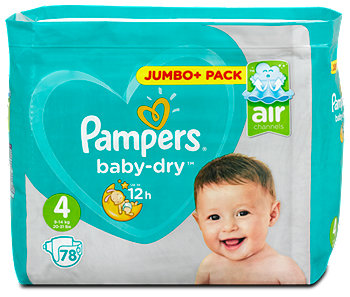 Pampers baby-dry Windeln Gr. 4 (9-14 kg) Jumbo+ Pack