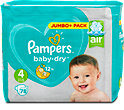 Pampers baby-dry Windeln Gr. 4 (9-14 kg) Jumbo+ Pack