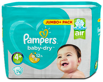 Pampers baby-dry Windeln Gr. 4+ (9-18 kg) Jumbo+ Pack
