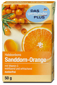 DAS gesunde PLUS Halsbonbons Sanddorn-Orange
