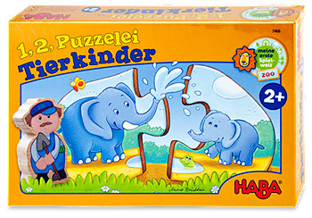Haba 1,2 Puzzelei Tiere Kinderspiel sort.