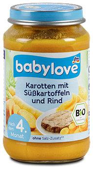 babylove Menü Karotten mit Süßkartoffeln und Rind
