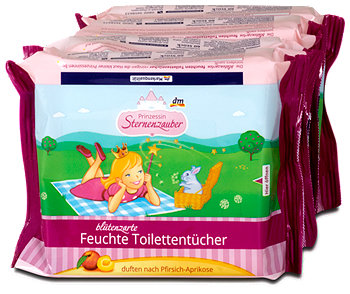 Prinzessin Sternenzauber blütenzarte Feuchte Toilettentücher