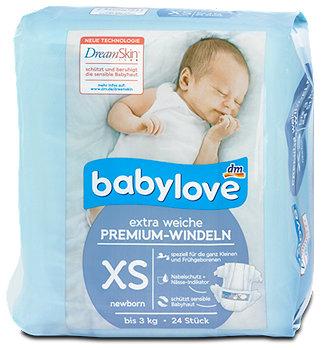 babylove Premium-Windeln Gr. XS newborn (bis 3 kg)