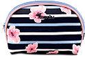 Schminktasche dunkelblau mit Streifen und Blumen