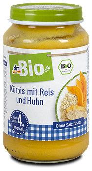 dmBio Babymenü Kürbis mit Reis und Huhn
