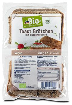 dmBio Toast Brötchen mit Roggenvollkorn
