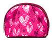 Schminktasche Polyester pink mit Herz- und Vogelmotiven