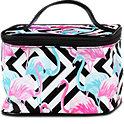 Beauty Case schwarz/weiß mit Flamingos