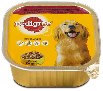 Pedigree Hundefutter mit 3 Sorten Fleisch & Gemüse in Gelee