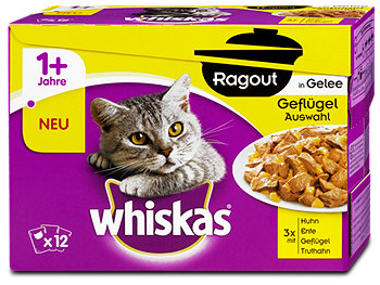 whiskas 1+ Jahre Ragout Katzenfutter Geflügel Auswahl in Gelee