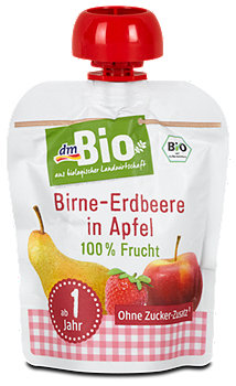 dmBio Fruchtdessert Birne-Erdbeere in Apfel