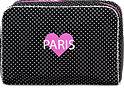 Kosmetiktasche Paris mit Herz gepunktet