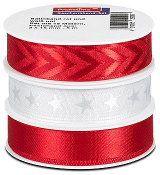Profissimo Geschenkband-Set mit Satinband rot und weiß