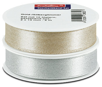 Profissimo Geschenkband-Set gold- und silberglimmer