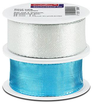 Profissimo Geschenkband-Set weiß und irisée-eisblau