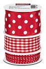 Profissimo Geschenkband-Set rot gepunktet & gestreift