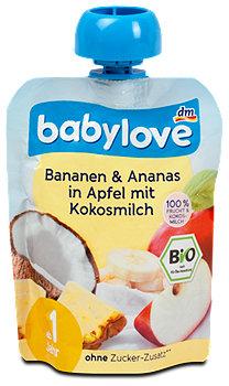 babylove Fruchtpüree Bananen & Ananas in Apfel mit Kokosmilch