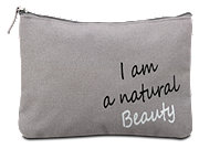 Schminktasche grau I am a natural Beauty
