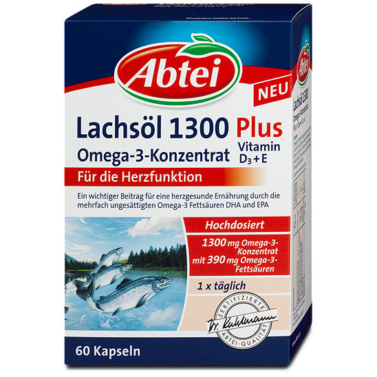 Abtei Lachsöl 1300 Omega 3 Konzentrat Plus D3e Kapseln
