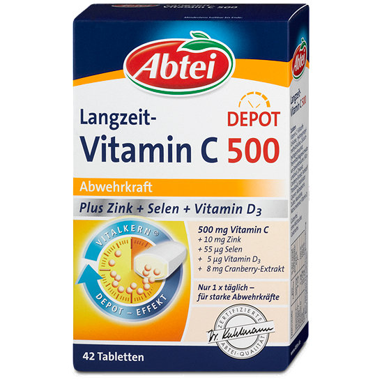 abtei langzeit vitamin c depot 500 abwehrkraft tabletten. Black Bedroom Furniture Sets. Home Design Ideas