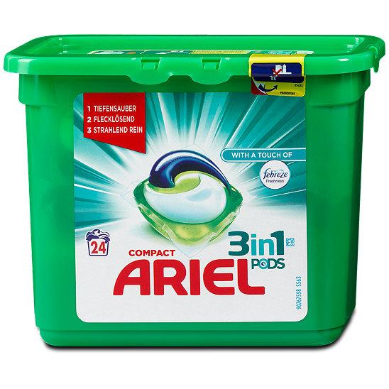 ariel compact 3in1 waschmittel pods mit febreze duft. Black Bedroom Furniture Sets. Home Design Ideas