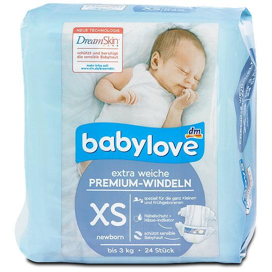 24 St/ück newborn bis 3kg babylove Windeln Premium extra weich Gr/ö/ße XS