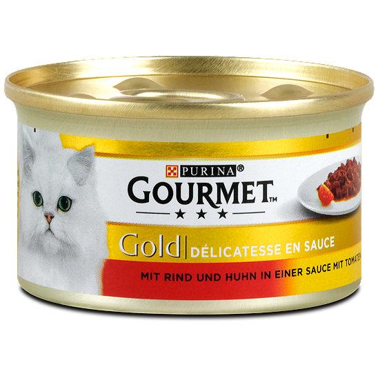 gourmet gold katzenfutter mit rind und huhn in sauce dose. Black Bedroom Furniture Sets. Home Design Ideas