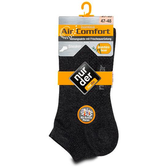 nur der Bambus Sneaker Socken Air Comfort dunkelgrau Gr. 47 48, 1 Paar
